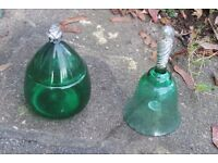 UNUSUAL GREEN GLASS PEAR SHAPED CONTAINER Pretty