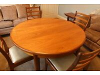 Outstanding Retro / Vintage 1970s Genuine G Plan Round Table which extends and Four Matching Chairs
