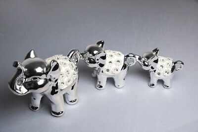 Set of 3 Contemporary Silver Ceramic Elephant Ornaments-For Gift,Home Decoration
