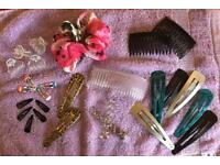 27 hair accessories clips, hair twists, scrunchie all new