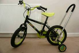 "Apollo Claws 14"" wheels kids bike with stabilisers and learn balance handle"