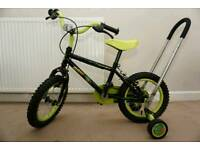 """Apollo Claws 14"""" wheels kids bike with stabilisers and learn balance handle"""