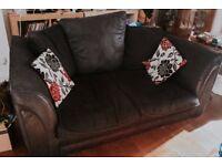 2 seater black fabric sofa