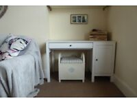 Large White wooden IKEA Desk drawer and cupboard