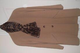 Alexon, camel ladies coat + faux fur cravat - very good condition