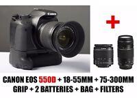 Canon EOS 550D DSLR + 18-55mm and 75-300mm + Grip + 2 Batteries + Bag