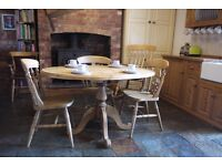 Antique waxed pine Farmhouse oval table and four chairs