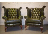 Pair of antique green chesterfield wingback armchairs (DELIVERY AVAILABLE)