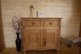 Stripped Farmhouse rustic solid waxed pine sideboard, cupboard, cabinet, unit.