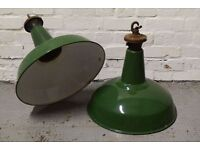 Benjamin enamel light shades with fittings circa 1950's - 6 available - (DELIVERY AVAILABLE)