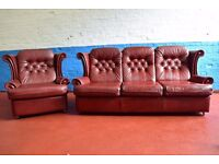 Reid's Red Leather Three Seater Sofa With Armchair (DELIVERY AVAILABLE)