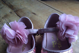 Next Sparkly ballet pumps with flower pink size 6 younger girls