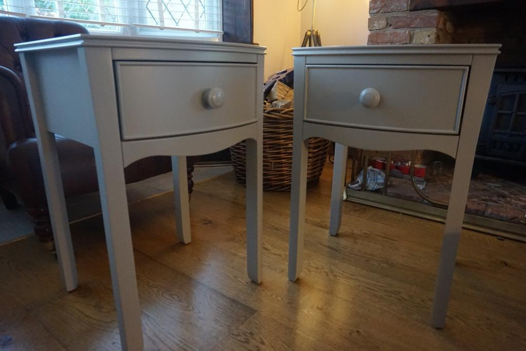 Laura Ashley Pair Of Broughton Bedside Tables French Grey Side Table RRP  £350 Each