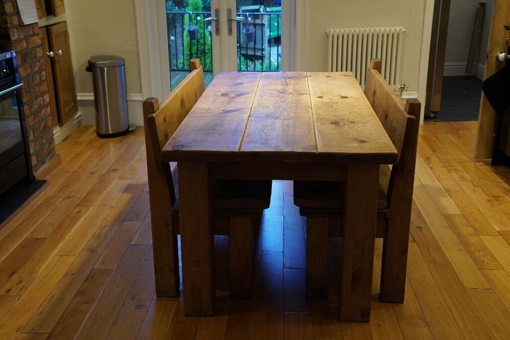 Genial Indigo Furniture Millers Plank Table With Extension And Two Plank Pew  Benches With Leather Cushions