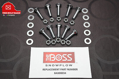 Boss Plow Snowplow Cutting Edge Bolts - 12-13x2 Plow Blade Kit Boss Bax00034