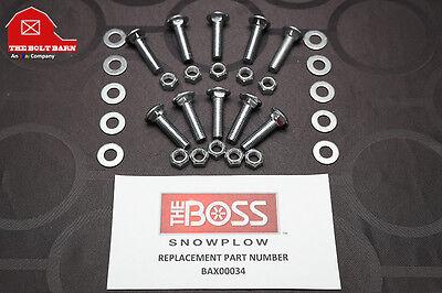 Boss Plow Snowplow Cutting Edge Bolts - 12-13x2 Plow Blade Kit Boss Bax00034