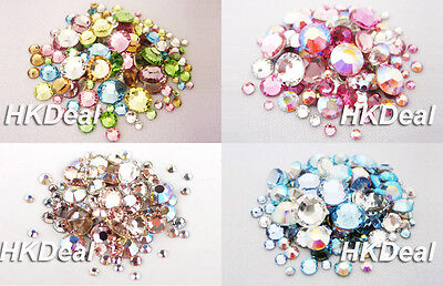 144 Mix Size Mix Color Swarovski Rhinestone Flatback Crystal Nail Art 4 Option