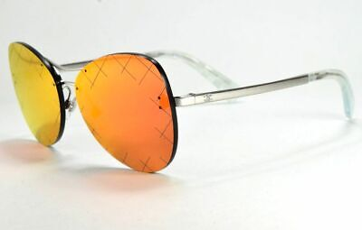 Chanel 4218 124/6Q Silver / Red Flash Mirror Crosshatch Butterfly (Red Chanel Sunglasses)