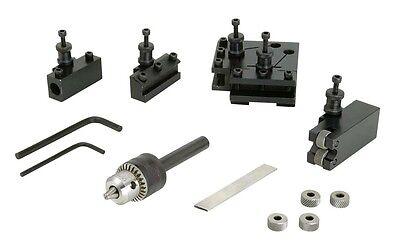 Mini Lathe Quick Change Tool Post Set 4 Tool Holders Knurl Drill Chuck New