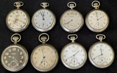 8 Ingersoll Pocket Watches Junior Yankee Reliance Waterbury for PARTS or REPAIR