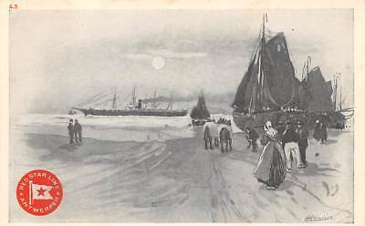 RED STAR LINE, CASSIERS IMAGE PC #A-3, SHIP AT SEA, SAILBOATS, PEOPLE c 1904-14