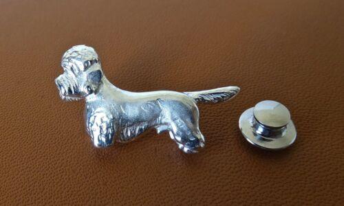 Sterling Silver Dandie Dinmont Terrier Standing Study Lapel Pin