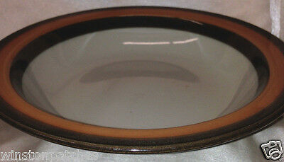 "RORSTRAND SWEDEN ANNIKA RIMMED SOUP BOWL 8 1/8"" BROWN & ORANGE TRIM OFF WHITE"