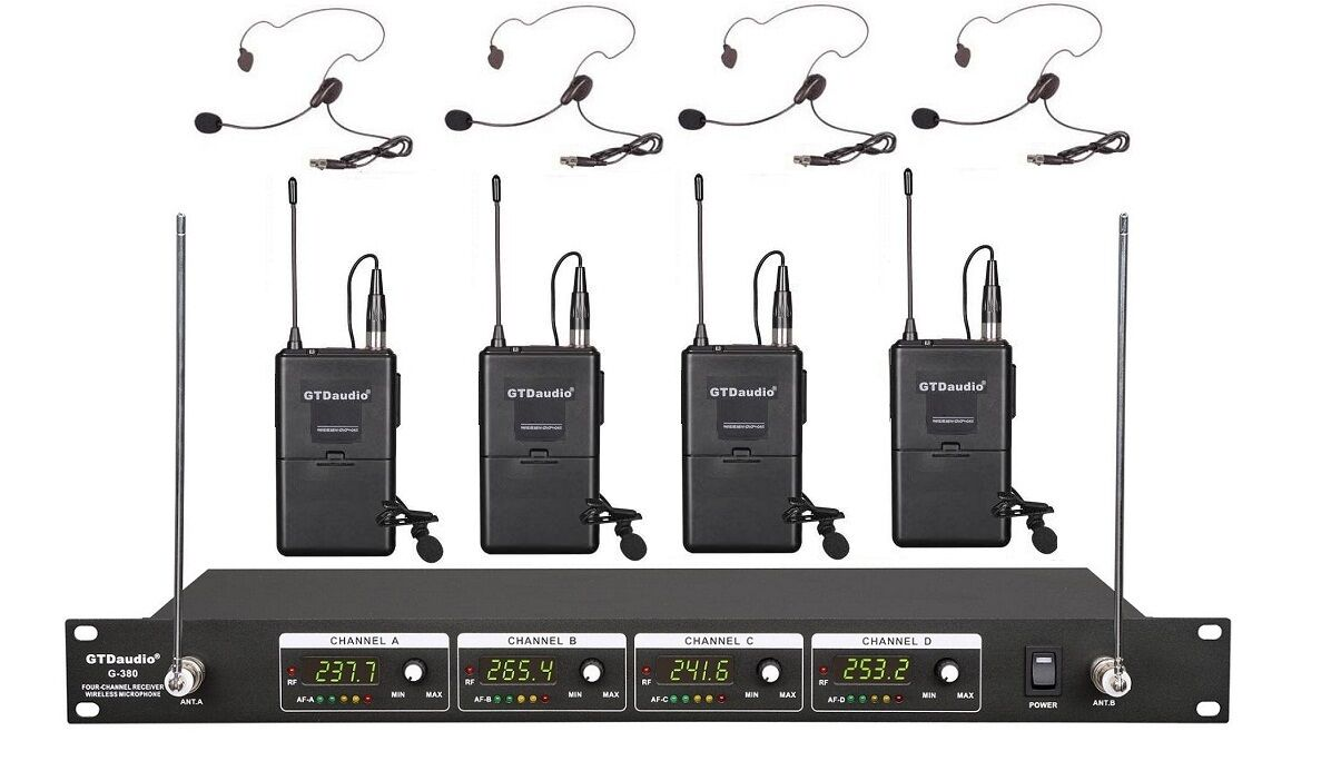 gtd audio 4 channel vhf wireless microphone system with lapel headset mics 380l ebay. Black Bedroom Furniture Sets. Home Design Ideas