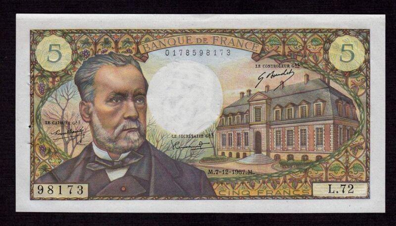 France 5 Francs 1967 P-146b * Unc, 4 ph * Louis Pasteur *