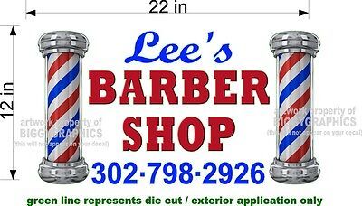 Custom New Graphic 12 X 22 Vinyl Decal Sticker For Barber Shop Window Wall