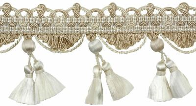 "HOULÈS Tassel Fringe 67mm (2.6""), Ivory, Les Marquise 33272-9017 Luxury Trimming"