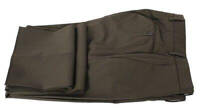 Incotex BENSON Pants Trousers Super 100S Khaki Green FLAT FRONT Wool NWT