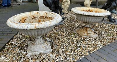 Cast Iron Pair of Urns - Garden - Victorian Antique Original