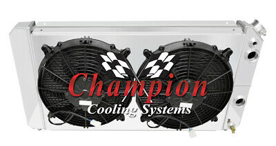 """1986-2005 Chevy S10 with V8 Chevy conversion 3 Row CHAMPION RADIATOR /& 12/"""" Fans"""