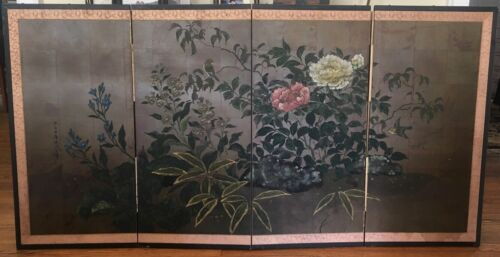Vintage Japanese Four Panel Screen Painting  Artist Signed - Floral Motif