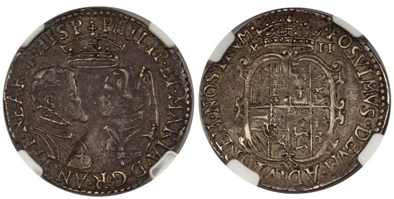 GR BRITAIN England Philip II and Mary I (1554-55) ND AR Shilling NGC XF Details
