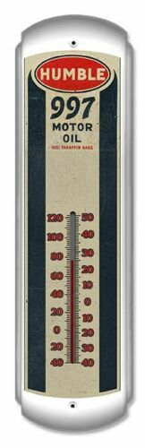 HUMBLE GASOLINE & OIL COMPANY GAS STATION STYLE METAL ADVERTISING THERMOMETER