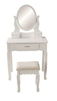 JASMINE WHITE DRESSING TABLE SET WITH ADJUSTABLE OVAL MIRROR AND STOOL,  BEDROOM