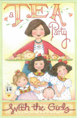 TEA PARTY WITH THE GIRLS-Handcrafted Fridge Magnet-Using art by Mary Engelbreit