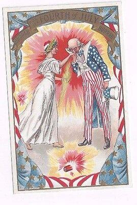 Antique udb 4th of July Patriotic Post Card Uncle Sam Kisses Liberty's Hand