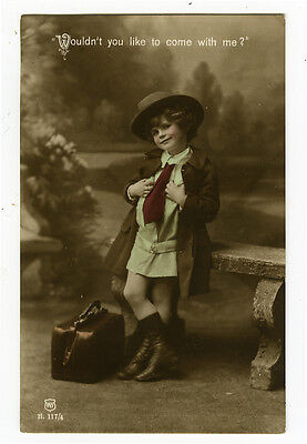 c 1914 Child Children Little GIRL CROSS DRESSER tinted photo postcard ()