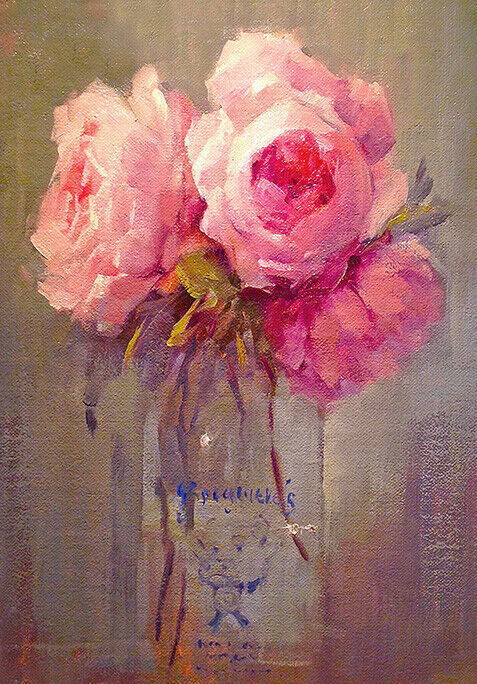 Country Roses Still Life Painting C1920s Flowers Quality Canvas Print A3