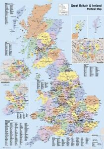 UK Map Large Wall Chart Poster Satin Matt Laminated New