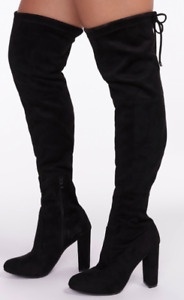 Lounge Suede Drawstring-Tie Heeled Over-The-Knee Boots