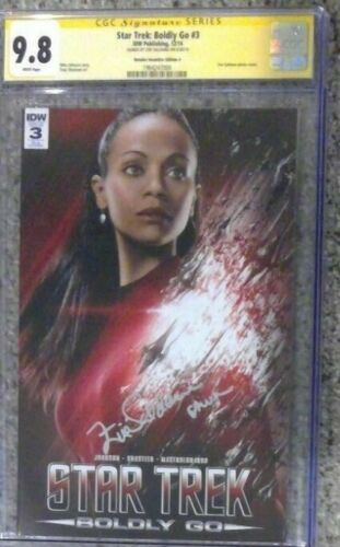 Star Trek: Boldly Go #3 photo variant_CGC 9.8 SS_Signed by Zoe Saldana w/ Uhura