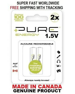 2x Pure Energy Alkaline Rechargeable 1.5V 800 mAh AAA Batteries free plastic - Pure Energy Battery