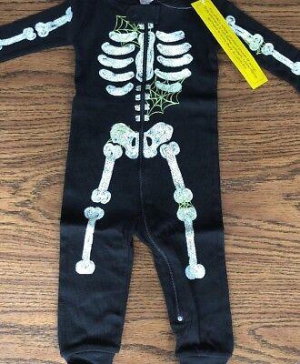 Gymboree Skeleton Glow In The Dark One Piece Pajamas
