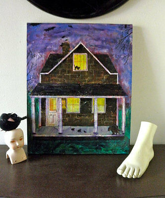 Original Halloween Painting Creepy Cool House BATS Rats CATS No Doormat Spooky](Creepy Halloween Paintings)