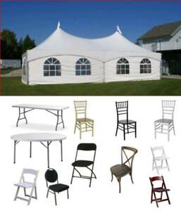 For Sale Event Tent Party Wedding Supplies Tables Chairs Warehouse Storage - TOR