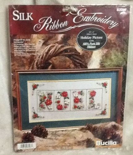 Bucilla NOEL NEW Holiday Picture 83287 Silk Ribbon Embroidery Kit Christmas 1995
